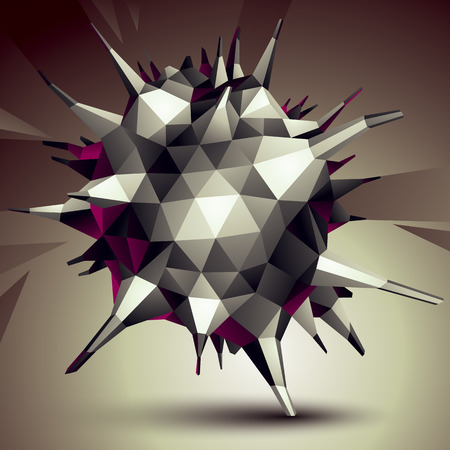 asymmetric: Geometric abstract 3D complicated object, single color asymmetric element isolated. Illustration