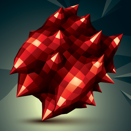 complicated: 3D vector abstract design object, polygonal complicated figure. Red deformed shape, render.