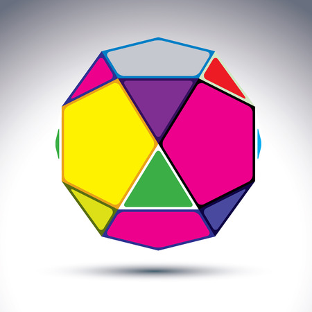dazzling: Abstract complicated 3d ball with jewels effect. Bright sphere constructed from dazzling geometric elements – rectangles, triangles and pentagons. Illustration