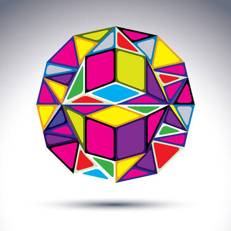 complicated: Rich 3d abstract illusive fractal figure. Dimensional vivid complicated design object, kaleidoscope and gemstone effect.