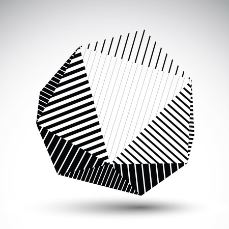 cybernetic: Symmetric spherical 3D vector technology illustration, futuristic geometric triangular striped orb, cybernetic abstract single color backdrop. Illustration