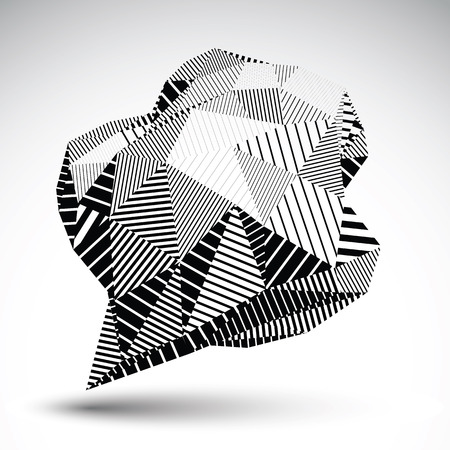 Stylish asymmetric contrast figure with parallel lines. Striped monochrome misshapen abstract vector object constructed from graffiti triangles.