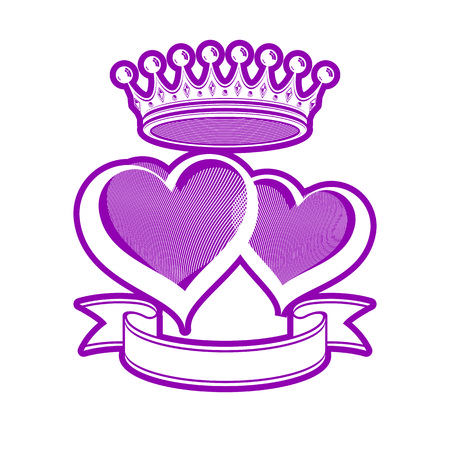 king s: Two loving hearts vector illustration with imperial crown. Royal couple elegant symbol isolated on white background. Valentine's day romantic design element, best for use in advertising.