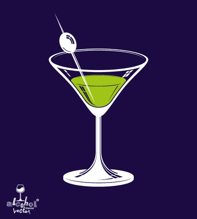 revelry: Realistic 3d martini glass with olive berry placed over dark background, beverage theme illustration. Stylized artistic lounge object, relaxation and celebration – party.