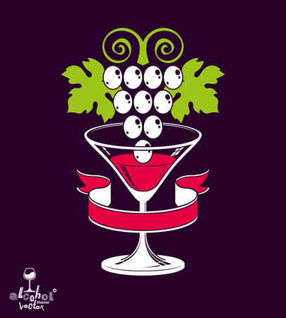 half full: Winery theme vector illustration. Stylized half full martini glass with grapes vine placed over dark background, racemation symbol best for use in advertising and graphic design.