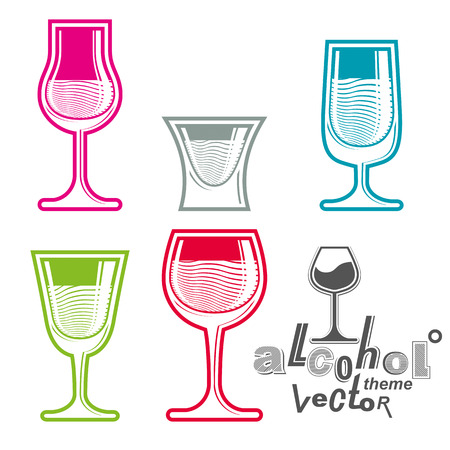 revelry: Colorful glasses collection %u2013 martini, wine, cognac, whiskey and champagne. Alcohol theme creative illustrations. Entertainment elements, best for use in graphic and web design. Illustration