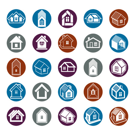 homely: Houses abstract icons, can be used in advertising and as branding in real estate business and construction. Set of simple buildings – architecture theme graphic symbol. Room for the newlyweds.