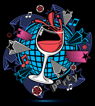 revelry: Leisure fantasy backdrop with musical notes and salute - lounge theme poster. Glass goblet with wine placed over earth symbol.