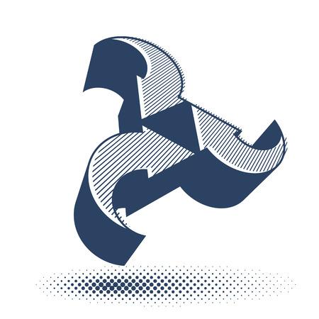 single color: Arrows abstract loop symbol, vector conceptual pictogram template, vector 3d single color icon.