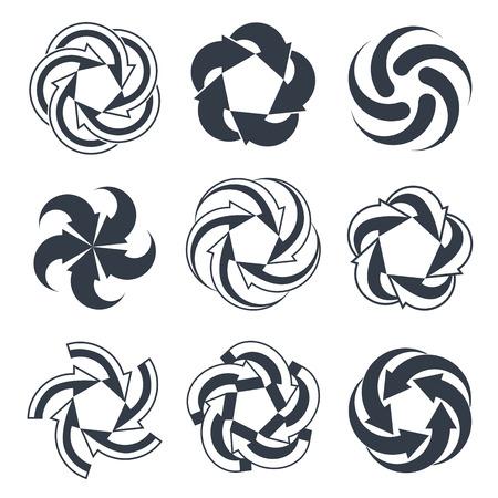 single color: Arrows abstract conceptual symbol template collection, single color vector 3d pictogram set. Illustration