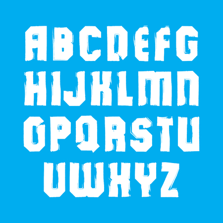 verb: Uppercase calligraphic brush letters, hand-painted white vector alphabet.