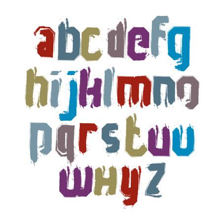 verb: Letras caligr�ficas min�sculas dibujados con pincel de tinta, colorido fuente vectorial.