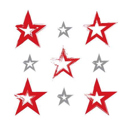 communistic: Conjunto de iconos a mano sovi�ticas estrella roja escaneados y vectorizada, colecci�n de pincel de dibujo estrellas comunistas, s�mbolo URSS pintado a mano aisladas sobre fondo blanco.