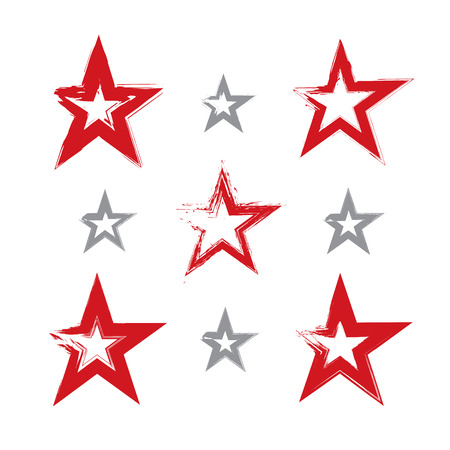 Set of hand-drawn soviet red star icons scanned and vectorized, collection of brush drawing communistic stars, hand-painted USSR symbol isolated on white background. Vector