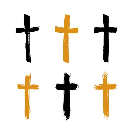 sencillo: Conjunto de iconos de la cruz del grunge negro y amarillo dibujado a mano, colección de señales cruzadas cristianas simples, símbolos cruzados pintados a mano creados con pincel de tinta reales aislados sobre fondo blanco. Vectores