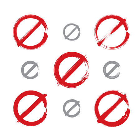 embargo: Set of hand-drawn simple vector prohibition icons, collection of brush drawing red realistic ban symbols, hand-painted prohibition sign isolated on white background.