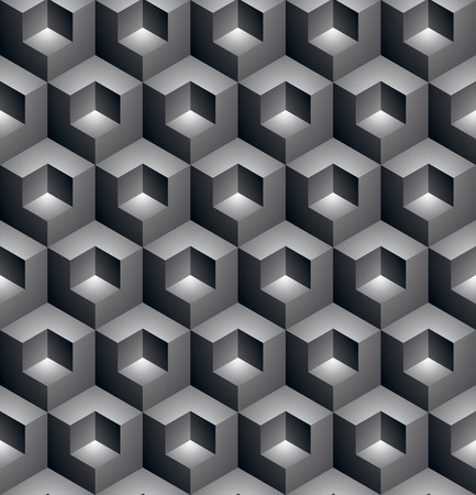 Black and white abstract textured geometric seamless pattern. Vector contrast textile backdrop with three-dimensional cubes and squares. Graphic contemporary futuristic covering.