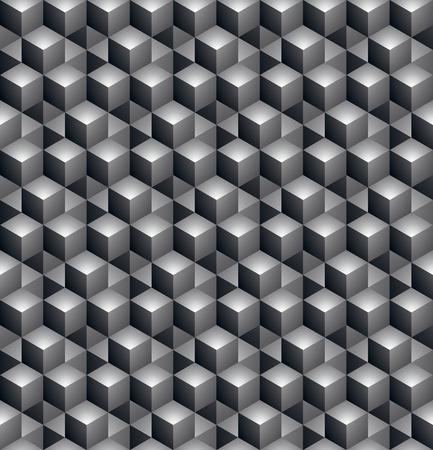 охватывающей: Геометрическая бесшовный узор, бесконечный черный и белый вектор регулярно фон. Аннотация покрытие с 3D-кубов и квадратов.