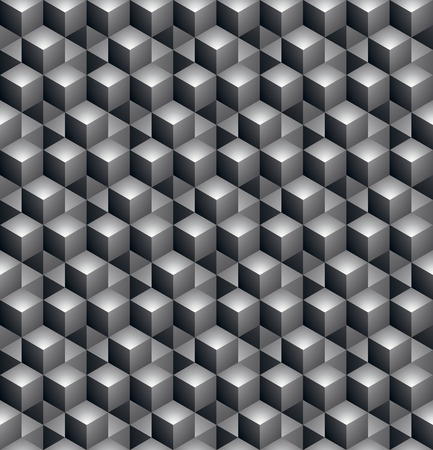 covering: Geometric seamless pattern, endless black and white vector regular background. Abstract covering with 3d cubes and squares.
