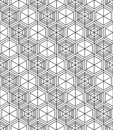 Futuristic illusive abstract geometric seamless pattern with cubes. Vector stylized texture. Vektorové ilustrace