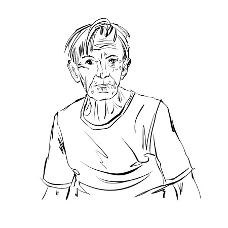 Hand drawn illustration of an old man on white background, black and white drawing. Illustration