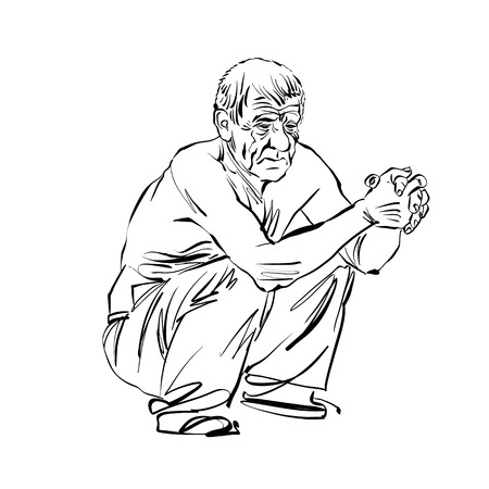 portrait: Hand drawn illustration of an old squatting man, black and white drawing.