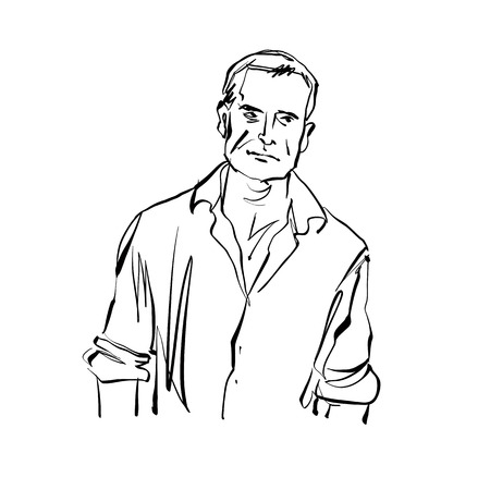 countryman: Hand drawn illustration of a man, black and white drawing.