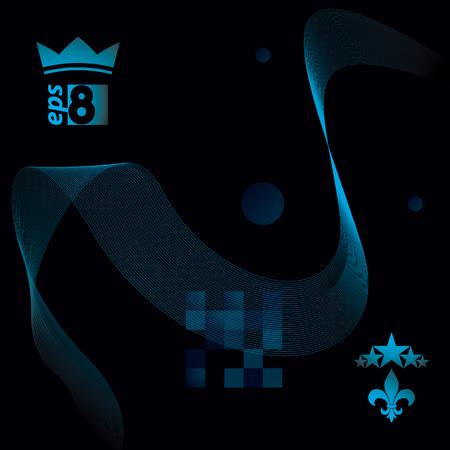 unwind: Dimensional motif elegant flowing curves, dark background in motion with five stars emblem, design backdrop.