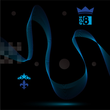 unwind: Blue dimensional flowing stripy ribbon, dreamy futuristic background with royal elements, stars and crown, dark  design vector illustration. Illustration