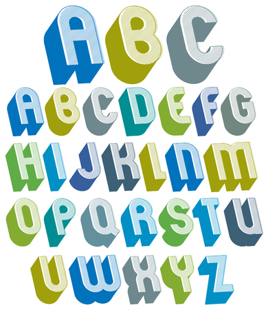 headlines: 3d font with good style, simple shaped bold letters alphabet made with round shapes and lines, great font for design, advertising, web and headlines. Illustration