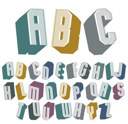 headlines: 3d font with good style, simple shaped geometric letters alphabet, great font for design, advertising, web and headlines. Illustration