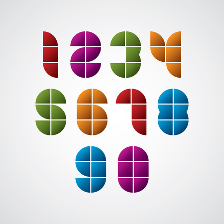 Geometric modern style numbers made with squares, vector set. Vector