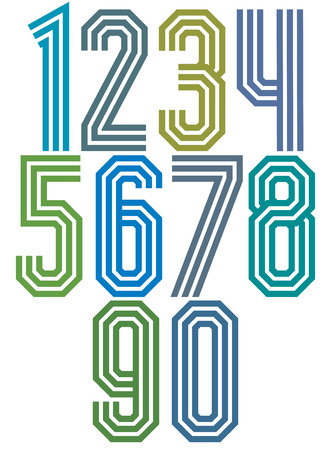 numerals: Triple stripe geometric numbers, retro style numerals made with straight lines only. Best for posters, headlines and graphic design in 70's retro style. Vector.