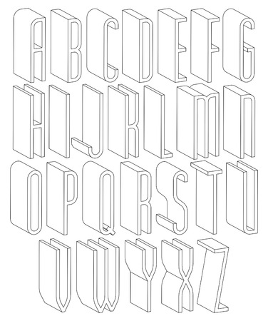 headlines: Black and white 3d font made with thin lines, single color simple tall letters alphabet, best for use in web design and advertising, for use in headlines, elegant symbols with good style.
