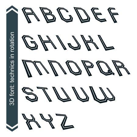 verb: Fuente geom�trica estilo gr�fico retro en rotaci�n, alfabeto vector.