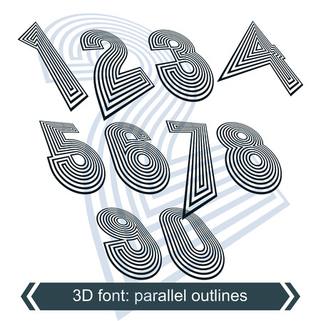 numeration: Geometric retro style graphic numbers in rotation, vector striped doodle numeration.