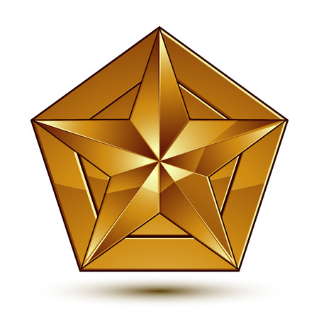 aurum: Heraldic 3d glossy icon can be used in web and graphic design, five-pointed golden star, clear vector.