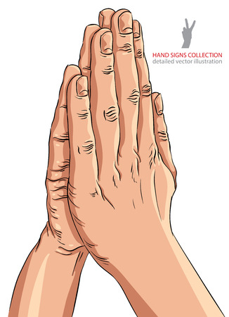 artistic jesus: Praying hands, detailed vector illustration. Illustration