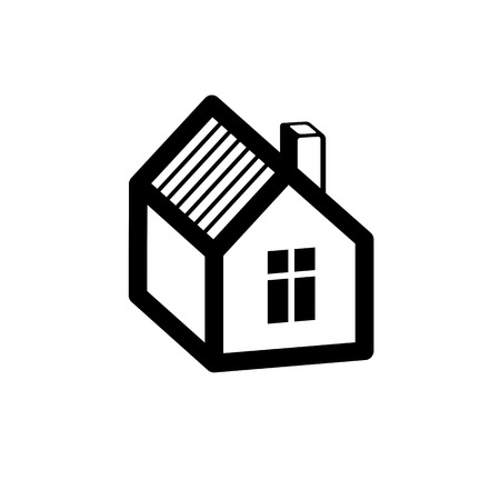 depiction: Simple mansion icon isolated on white background, abstract house depiction. Country house, conceptual sign best for use in graphic and web design.