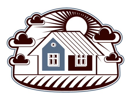 House detailed illustration, village idea. Graphic country house image, simple countryside building. Illustration