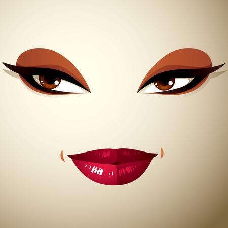 coquete: A express�o facial de uma jovem mulher bonita. Coquette senhora visage, os olhos humanos e l�bios.