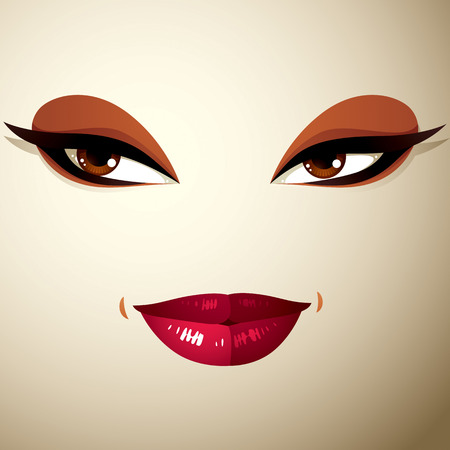 thorny: Facial expression of a young pretty woman. Coquette lady visage, human eyes and lips. Illustration