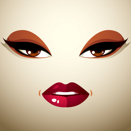 beautiful lips: Face makeup, lips and eyes of an attractive woman displaying passion.