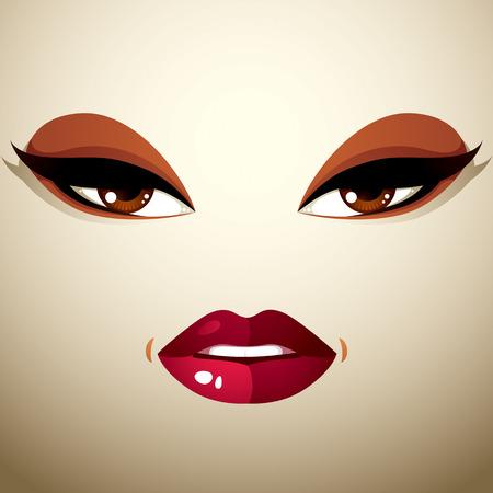 labios sexy: Maquillaje de la cara, los labios y los ojos de una mujer atractiva que muestra la pasi�n.