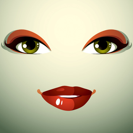 reflecting: Attractive woman with stylish bright make-up. Sexy Caucasian distrustful lady. Human eyes and lips reflecting emotions, doubt. Illustration