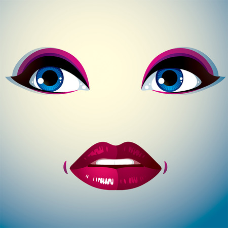 countenance: Facial expression of a young pretty woman. Coquette lady visage, human eyes and lips. Illustration