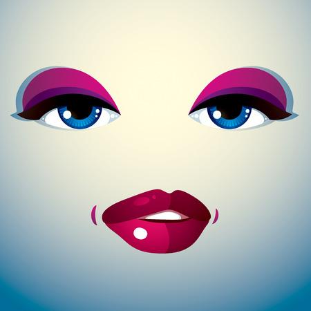 expression visage: L'image de la cosm�tologie th�me. Jeune jolie dame. Yeux et des l�vres humaines refl�tant une expression du visage, le doute. Illustration