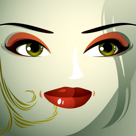 distrustful: Facial emotions of a young pretty woman with a modern haircut. Coquette lady visage, expressive human eyes, lips and locks.