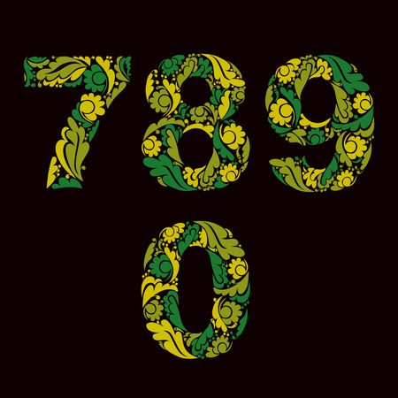 0 9: Spring style green vector digits, numbers with eco floral ornament. 7, 8, 9, 0.