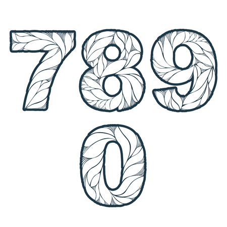 0 9: Single color ornate beautiful vector digits, numbers with eco floral ornament. 7, 8, 9, 0.